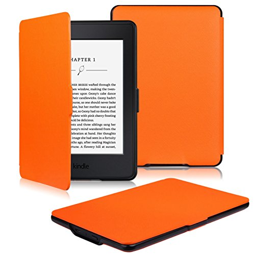 OMOTON Kindle Paperwhite Case Cover - The Thinnest and Lightest PU Leather Smart Cover for All-New Kindle Paperwhite (Fits All versions: 2012, 2013, 2014 and 2015 All-new 300 PPI Versions), Orange