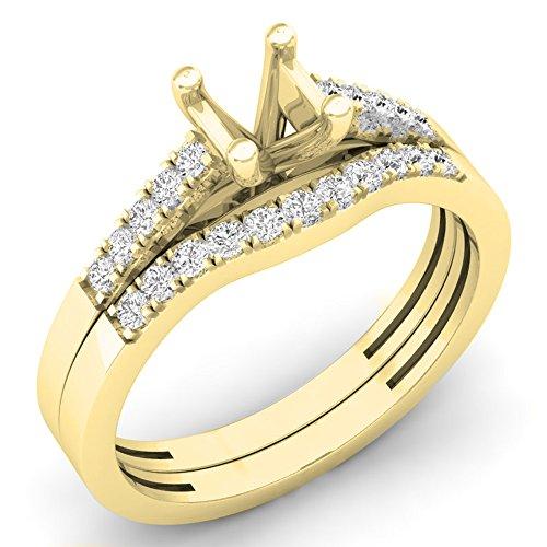 - Dazzlingrock Collection 0.25 Carat (ctw) 14K Round Diamond Semi Mount Bridal Engagement Set 1/4 CT, Yellow Gold, Size 7