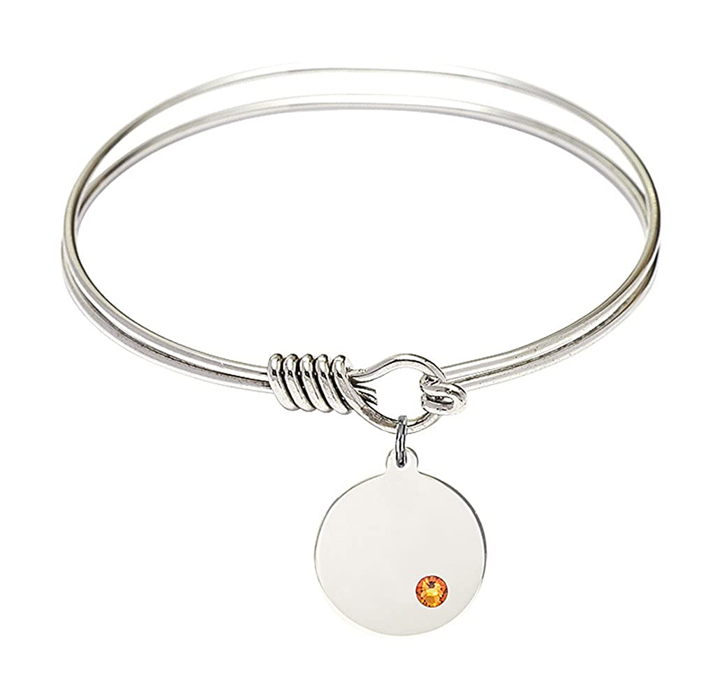 DiamondJewelryNY Eye Hook Bangle Bracelet with a Plain Disc Charm.