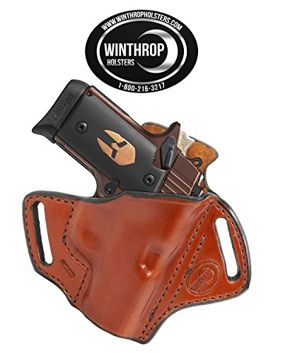 Winthrop Holsters OWB Shield Holster R/H Brown for Sig Sauer P238 NO Laser 2.7 inch Barrel