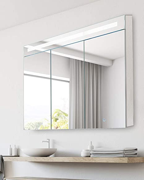 Amazon Com Bathroom Medicine Cabinet Aluminum Recessed Surface Mount 36 X 30 3 Door Mirrored Interior W Led Kitchen Dining