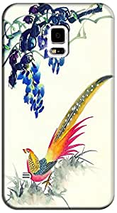 Phone Cases Design With Traditional Chinese Painting Flowers Brids Beautiful Pattern For Samsung Galaxy S5 i9600 No.14
