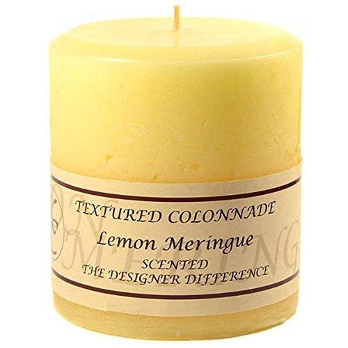 Textured Lemon Meringue Pillar Candles, Set of 3, one of each size: 4x4, 4x6, 4x9