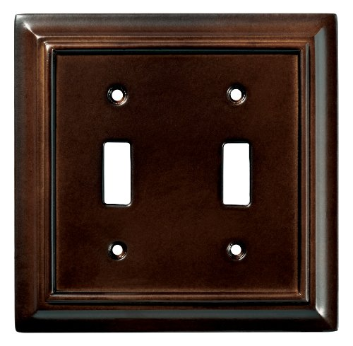 Brainerd 126343 Wood Architectural Double Toggle Switch Wall Plate / Switch Plate / Cover, Espresso