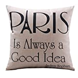 Createforlife Cotton Linen Decorative Throw Pillow Case Cushion Cover Paris is Always a Good Idea Square 18