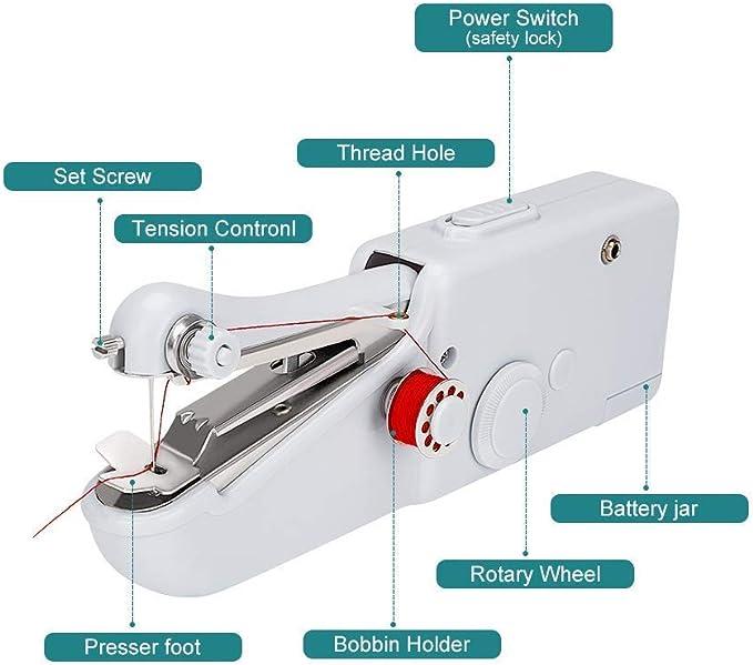 Máquina de coser de mano, portátil, mini máquina de coser a mano ...