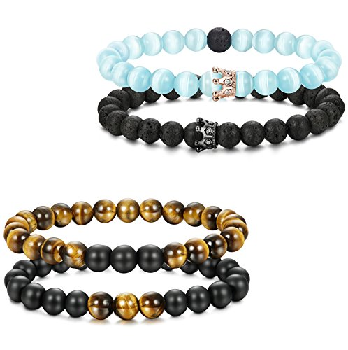 Thunaraz 4pcs Couples Bracelets for Him and Her CZ Crown Queen Beads Bracelet 8mm Cat eye
