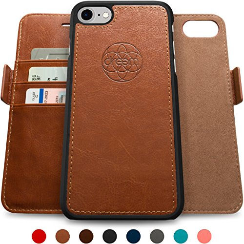 Dreem iPhone 7 & 8 Wallet Case with Detachable SlimCase, Fibonacci Luxury Series, Vegan Leather, RFID Protection, H/V Stands, Gift Box - Brown