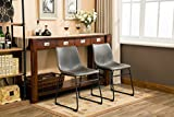 Roundhill Furniture C185GY Lotusville PU Leather Vintage Dining Chairs, Antique Set of 2, Gray