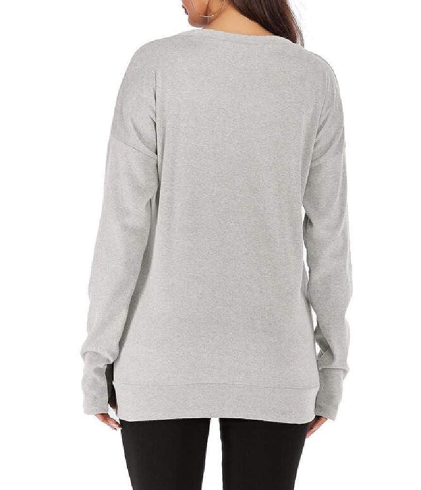 Smallwin Womens Thumb Hole Long Sleeve Crew Neck Casual Pullover Sweatshirt