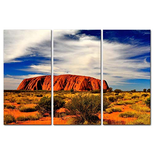 Wall Art Decor Poster Painting On Canvas Print Pictures 3 Pieces Most Famous Australia Land Mark Uluru Kata Tjuta National Park Landscape Canyon Framed Picture for Home Decoration Living Room Artwork