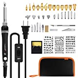 #10: Tabiger Wood Burning Kit, 60W Pyrography Pen/Wood Burning Pen with Adjustable Temp 200~450℃ and ON/OFF Switch, 28 PCS Carving/Embossing/Soldering Tips, 3PCS Stencils, Carving knife, Stand, PU Case