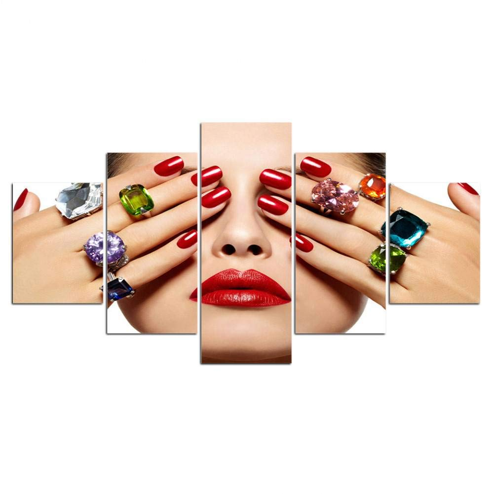 Canvas Lips Makeup Beauty Salon Nails Wall Art Print and Poster Home Decoration Picture MMLZLZ 5 Consecutive Paintings 5 Piece Canvas Painting