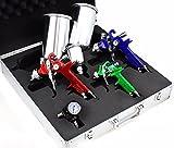 3 HVLP Air Spray Gun Kit Auto Paint Car Primer Detail Basecoat Clearcoat w/ Case