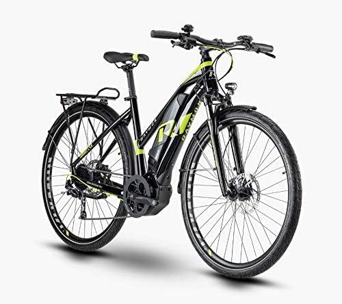 R Raymon TourRay E 4.0 - Bicicleta eléctrica de Trekking, Color Negro, Verde y Gris Brillante, tamaño 28