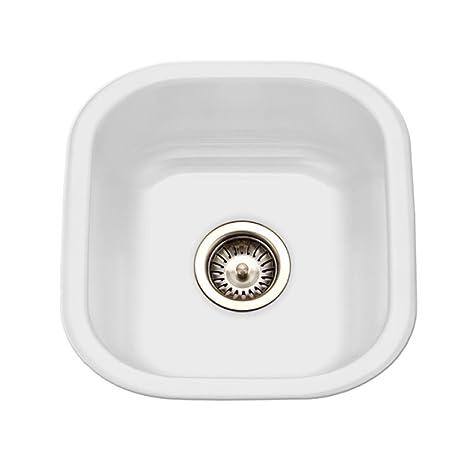 Porcela 17.32u0026quot; X 15.59u0026quot; Porcelain Enameled Steel Undermount  Square Bar Sink, Single Bowl