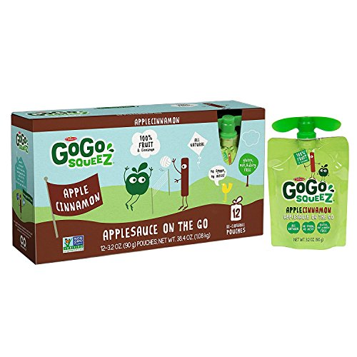 GoGo squeeZ Applesauce on the Go, Apple Cinnamon, 3.2 Ounce Portable BPA-Free Pouches, Gluten-Free, 12 Total Pouches