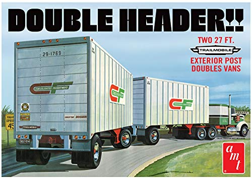 AMT 1132 1/25 Tandem Van Trailers, Double Header Model Kit from AMT