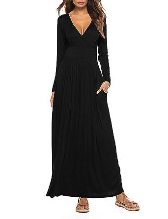e888b938ca5 HMei Women's Maxi Dress Long Sleeve V Neck Wap Waist Casual Loose Dress  with Pockets,