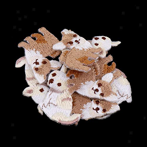 - 10x Cute Animal Badge Embroidered Iron on Patches for Clothing Bags Applique | Color - Chihuahua