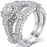 AONEW Women Engagement Wedding Ring Set White Gold 2pcs 1.5ct Round White Cz Size 6-10 Size 6