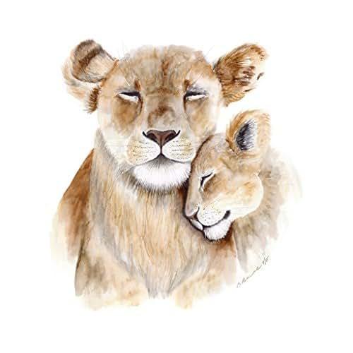 Amazon.com: Mom and Baby Lion Watercolor Nursery Wall Art