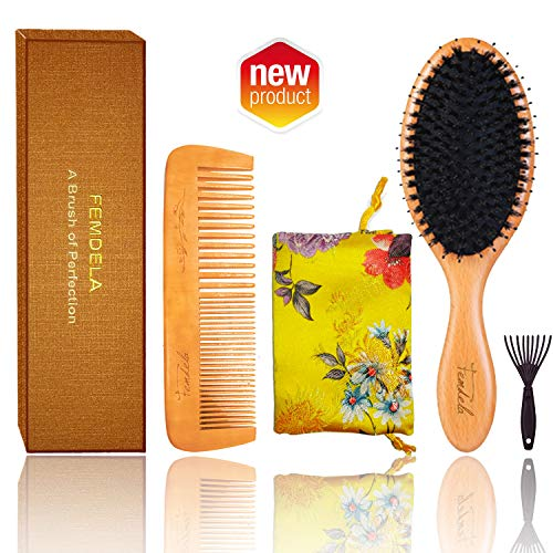 Hair Brush, Boar Bristle Hair Brush with Detangling Pins for Thick, Curly Dry or Wet Hair, Best Paddle Hair Brushes for Women Men Reach and Massage Scalp, Adding Shine, Brush Cleaner, Comb Included