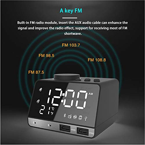 Alarm Clocks for Bedrooms, 4.2 LED Digital Alarm Clock Radio with FM Radio, Dual USB Port for Charger, Snooze, Bluetooth AUX TF Card Play, Battery Backup, Best Gift for Men