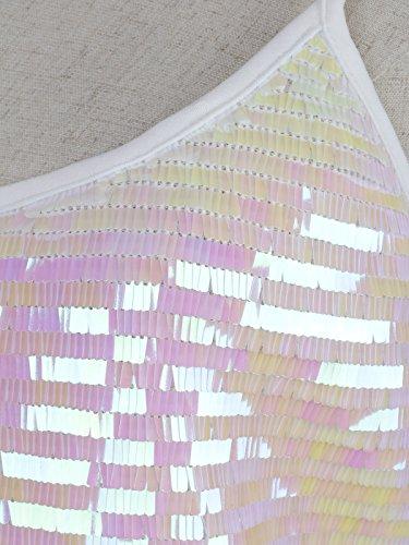 Anna Kaci-S/M Blanc et rose avec effet hologramme Débardeur à motif à sequins