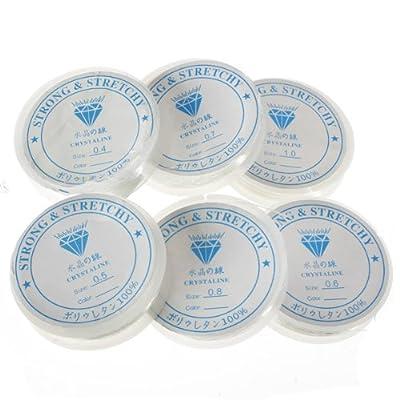 The little button shop fil pour la fabrication de bijou, élastique, transparent, disponible en 6 tailles, 0.7mm