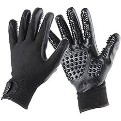 XJ Pet Grooming Glove 2-in-1 Hair Remover Mitt One Pair, Enhanced 5 Finger Design Deshedding Hair Remover Massage Tool