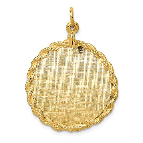 - 14k Yellow Gold Patterned .013 Gauge Circular Engravable Disc Rope Pendant Charm Necklace Round Framed Fine Jewelry Gifts For Women For Her