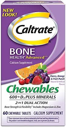 Caltrate 600+D3 Plus Minerals (Cherry, Orange, and Fruit Punch, 60 Count) Calcium & Vitamin D3 Chewable Supplement, 600mg Calcium