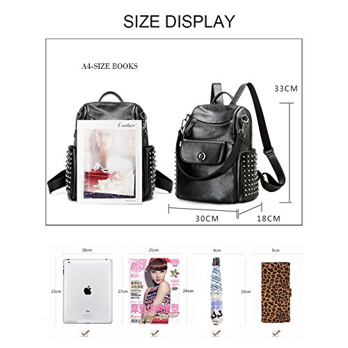 Black Daypack Backpack Durable Shoulder Studded Waterproof High Purse Yoome Capacity Travelbag Bag Rivet 8a1Ww6B87q