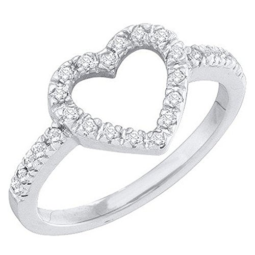 Diamond 18k White Gold Heart Ring - 6