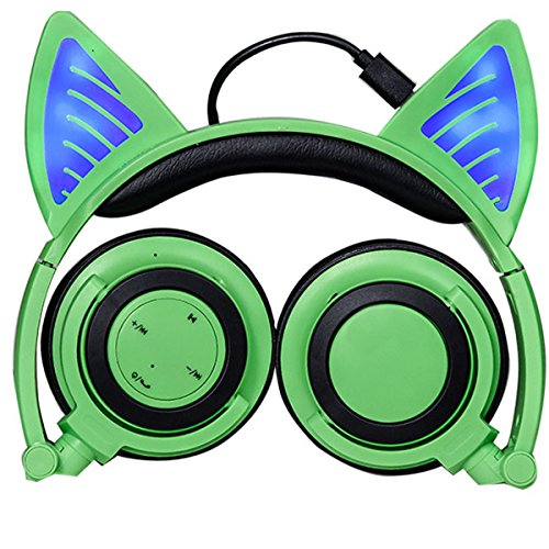 Bluetooth Headphones with Microphone and Volume Control Wireless ,Over Ear Headphones Cat Ear Headphones With Glowing LED Flash light for iPhone 7/6S/iPad,MP3,MP4 Player,Android Mobile Phone (Green)