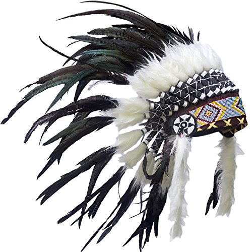India Indian Costumes - KIDS SIZE Feather Headdress - Adjustable - Indian Inspired - Black Rooster