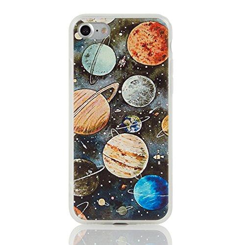 iPhone 7 Case Anti-Slip Anti-scratch Hard Back Cover TPU Bumper 3D Touch Solar System Case 4.7-inch