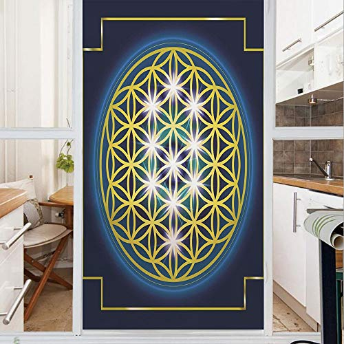 Decorative Window Film,No Glue Frosted Privacy Film,Stained Glass Door Film,Flower of Life in Internal Spirals with Vibrant Spots Belief Tradition Design Decorative,for Home & Office,23.6In. by 59In I