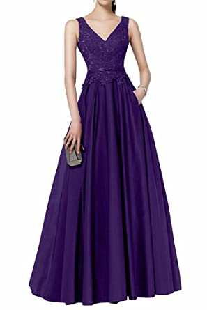GMAR Womens A Line Lace Evening Dresses V Neck Long Prom Party Gowns Pockets - Purple