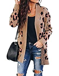 Women's Long Sleeves Open Front Leopard Print Button Down Knitted Sweater Cardigan Coat Outwear with Pockets