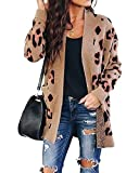 ZESICA Women's Long Sleeves Open Front Leopard Print Button Down Knitted Sweater Cardigan Coat Outwear with Pockets: more info