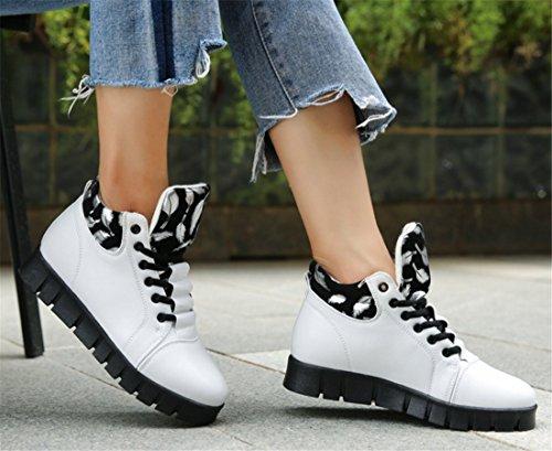 Women Casual Hidden Shoes Plush Autumn PU Heel Leather White Warm Thick Winter B High Cut fUzfqrxgw