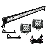 7 led bar brackets - YITAMOTOR 52 Inch LED Light Bar + 2X 18W 4 Inch Spot Fog Light Pods+ Mounting Bracket with Wiring Harness for 07-15 JEEP JK