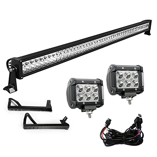 LED Light Bar YITAMOTOR 52 Inch Light Bar + 2X 18W 4 Inch Spot Fog Light Pods+ Mounting Bracket with Wiring Harness compatible for 07-15 JEEP Wrangler JK, 3 Years Warranty