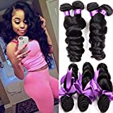 Shireen Peruvian Virgin Hair Loose Wave 3 Bundles 8A Unprocessed Loose Deep Wave Wet and Wavy Human Hair Extensions Natural Black (12 14 16inch)