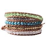 Mother's Day Gift Woven Leather and Simulated Turquoise Crystal Five Wrap Beaded Bracelet Hand Chain Blue