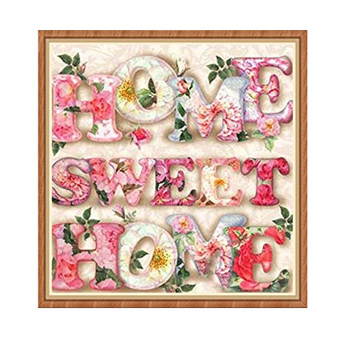 Clearance! Home Sweet Home DIY 5D Diamond Painting Rhinestone Pasted Embroidery Arts Craft Cross Stitch Kids Gift Lovely Home Wall Decor Living Room Bedroom 30x30cm (Pink, 30x30cm)