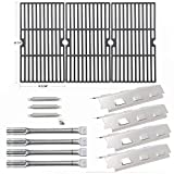 Hisencn Repair kit Grill Burner, Carryover Tubes, Heat Plates Shield Tent, Cast Iron Grill Grates Grids Replacement for Charbroil 463420507, 463420509, 463460708, 463460710 Gas Grill Models