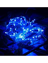 Glumes Solar LED String Fairy Lights |100 LED 32.8FT/10 m |Hanging Indoor Outdoor Decoration for Christmas Party Wedding Holiday Birthday Garden Patio Bedroom (Blue)